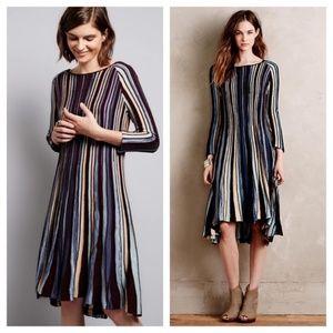 "ANTHRO Moth ""Nora Knit Swing"" Striped Dress L"